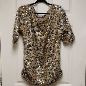 Boston Proper Animal Print Sequin Top